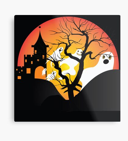 Halloween Ghost Flying out of castle Metal Print