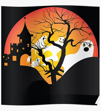 Halloween Ghost Flying out of castle Poster