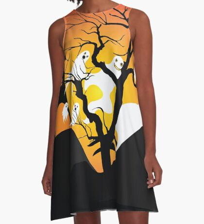 Halloween Ghost Flying out of castle A-Line Dress