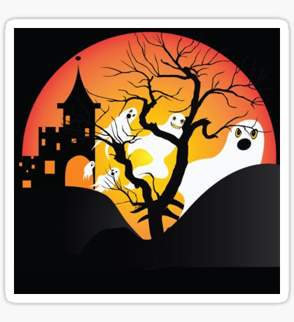 Halloween Ghost Flying out of castle Sticker