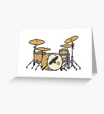 Pixel Gold Sparkle Bird Drum Set Greeting Card