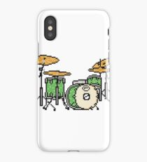 Pixel Lime Green Drum Set iPhone Case/Skin