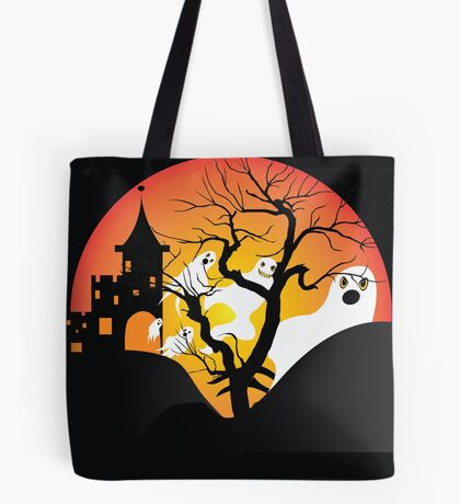 Halloween Ghost Flying out of castle Tote Bag