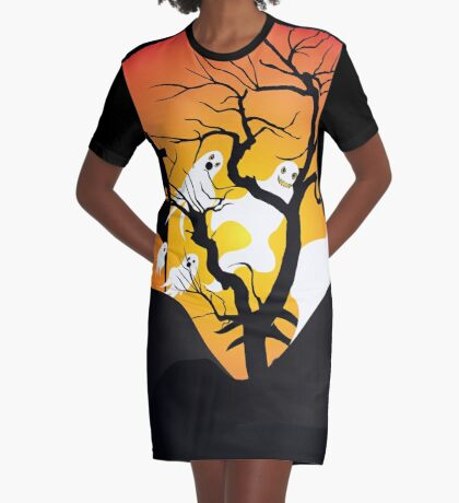 Halloween Ghost Flying out of castle Graphic T-Shirt Dress