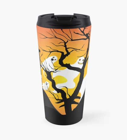 Halloween Ghost Flying out of castle Travel Mug