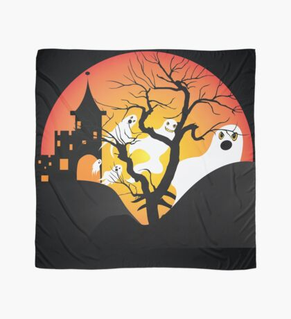 Halloween Ghost Flying out of castle Scarf