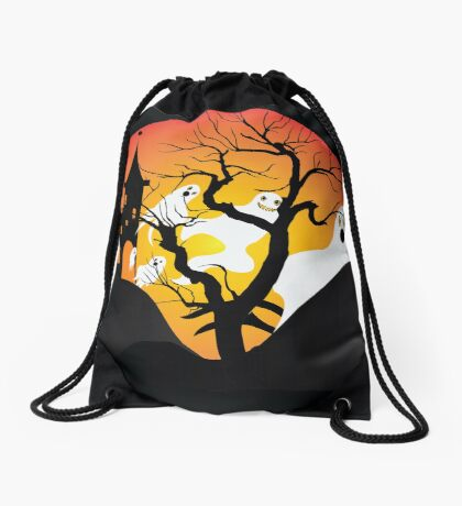 Halloween Ghost Flying out of castle Drawstring Bag