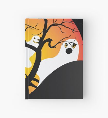Halloween Ghost Flying out of castle Hardcover Journal