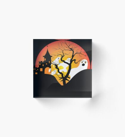 Halloween Ghost Flying out of castle Acrylic Block