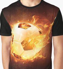 Soccer Ball On Fire Graphic T-Shirt