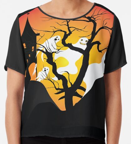Halloween Ghost Flying out of castle Women's Chiffon Top