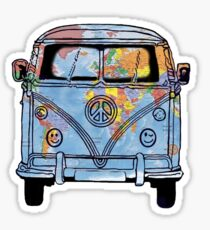 Trippy Little World Traveler VW Van Sticker