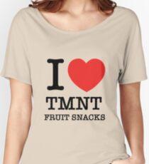 i love tmnt fruit snacks (laura dreyfuss)  Women's Relaxed Fit T-Shirt