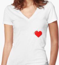 Paperclip heart Women's Fitted V-Neck T-Shirt