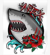 APEX PREDATOR (GREAT WHITE SHARK) WITH ROSES Poster