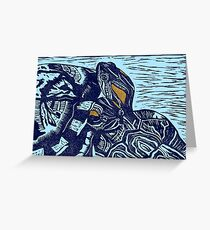 Best Friends Turtles Linocut (c) Greeting Card