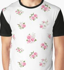 Cute vintage rose flower pattern on white background Graphic T-Shirt