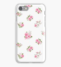 Cute vintage rose flower pattern on white background iPhone Case/Skin