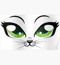 Kitten face with green eyes Poster