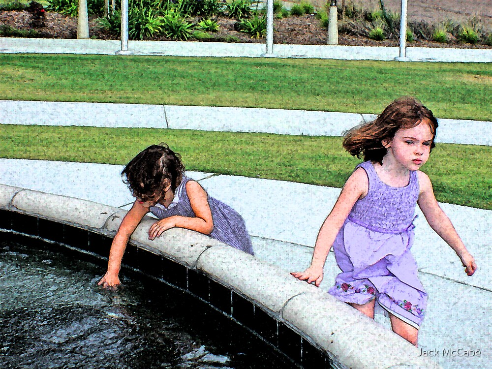 Sisters at the Veterans Fountain by Jack McCabe
