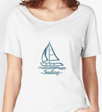 Sailing Badge With Sailboat Women's Relaxed Fit T-Shirt
