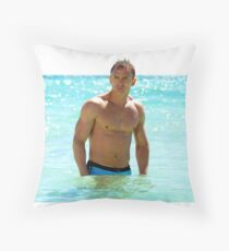 Daniel Craig Out of the Sea Throw Pillow