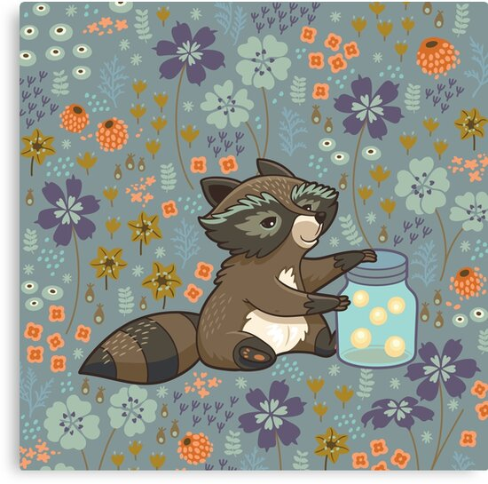 Funny little raccoon collects crickets by PenguinHouse