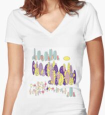 My Town Women's Fitted V-Neck T-Shirt