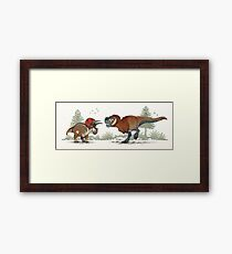 Double feature; Triceratops and Tyrannosaurus rex Framed Print
