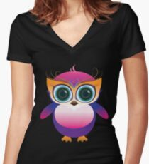 Cute lil baby owl Women's Fitted V-Neck T-Shirt