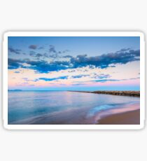 Tranquil behind the breakwater at sunset Sticker