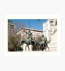 Statues of Don Quixote and Sancho Panza, Monument to Miguel de Cervantes Art Print
