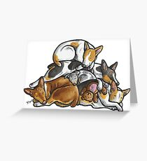 Sleeping pile of Rat Terrier dogs Greeting Card