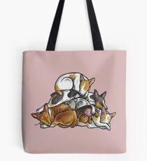 Sleeping pile of Rat Terrier dogs Tote Bag