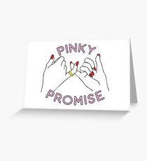 Friendship Pinky Promise Hands Love Fashion Pink  Greeting Card