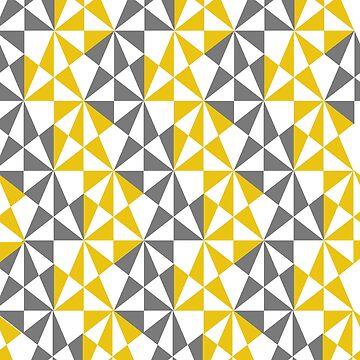 Geometric Bold Retro Funky Mustard Yellow Grey Mix by Artification