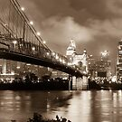 Cincinnati Skyline at Twilight - Vintage Sepia Edition by Gregory Ballos