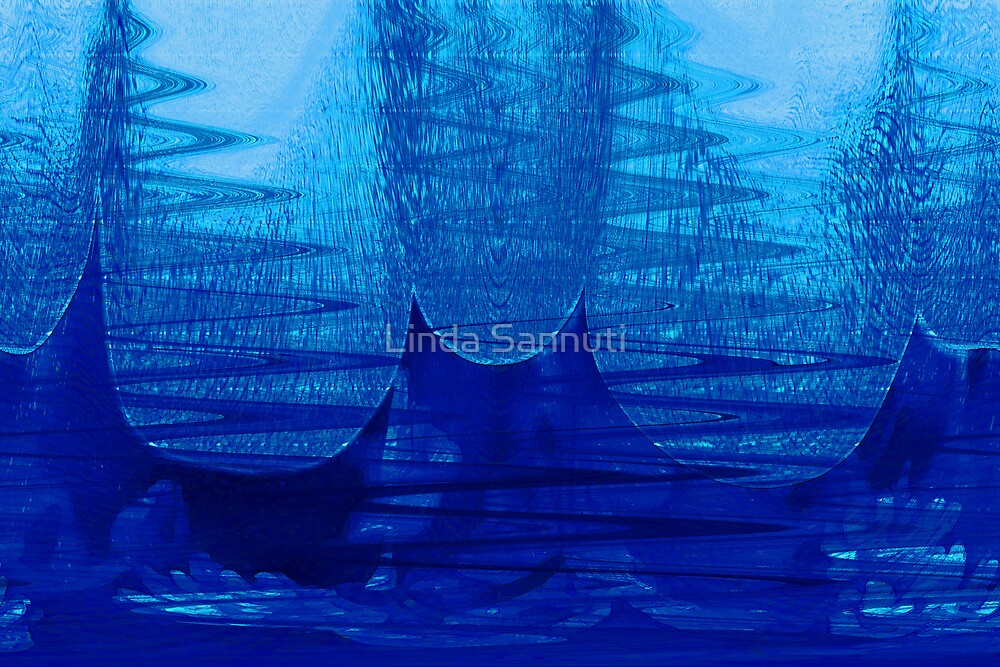 abstract in blue by Linda Sannuti