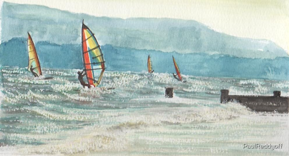 Windsurfing, Evening near Sandown, Isle of Wight. by PaulReddyoff