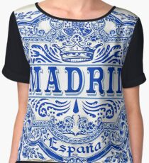 Azulejo Decoration Madrid Blue Vintage Azulejos Tiles Women's Chiffon Top