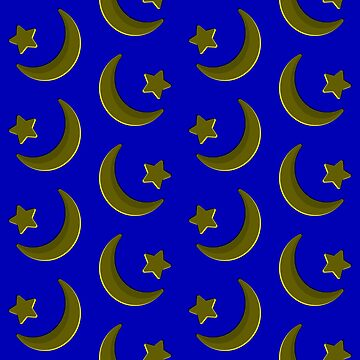 Gold on Blue, crescent moon and star pattern by cool-shirts