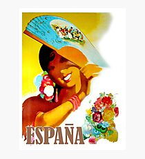 Espana, Spain, smiling woman, vintage travel poster Photographic Print