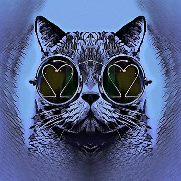 FUNNY CAT BLUE by fuxart