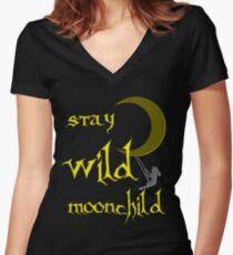 Stay Wild Moonchild, gold, yellow, blue or black Women's Fitted V-Neck T-Shirt