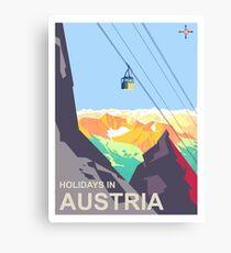 Austria Holiday, winter season, alps, mountains, travel poster Canvas Print
