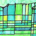 Green Frank Lloyd Wright Stained Glass by Kate LeVering