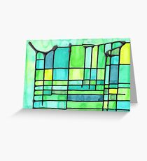 Green Frank Lloyd Wright Stained Glass Greeting Card