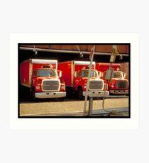 Red trucks - NYC Art Print