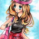 Pokemon Trainer Serena XY Drawing by moonphiredesign