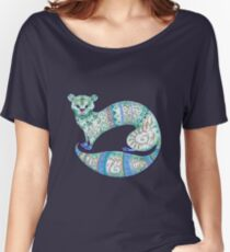 fuzzy ferret in greens Women's Relaxed Fit T-Shirt